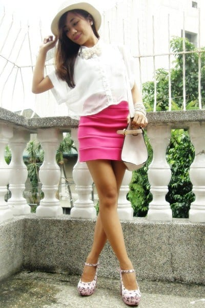 hot-pink-bandage-skirt Outfits with Pink Skirts-30 Ideas How to Wear Hot Pink Skirts