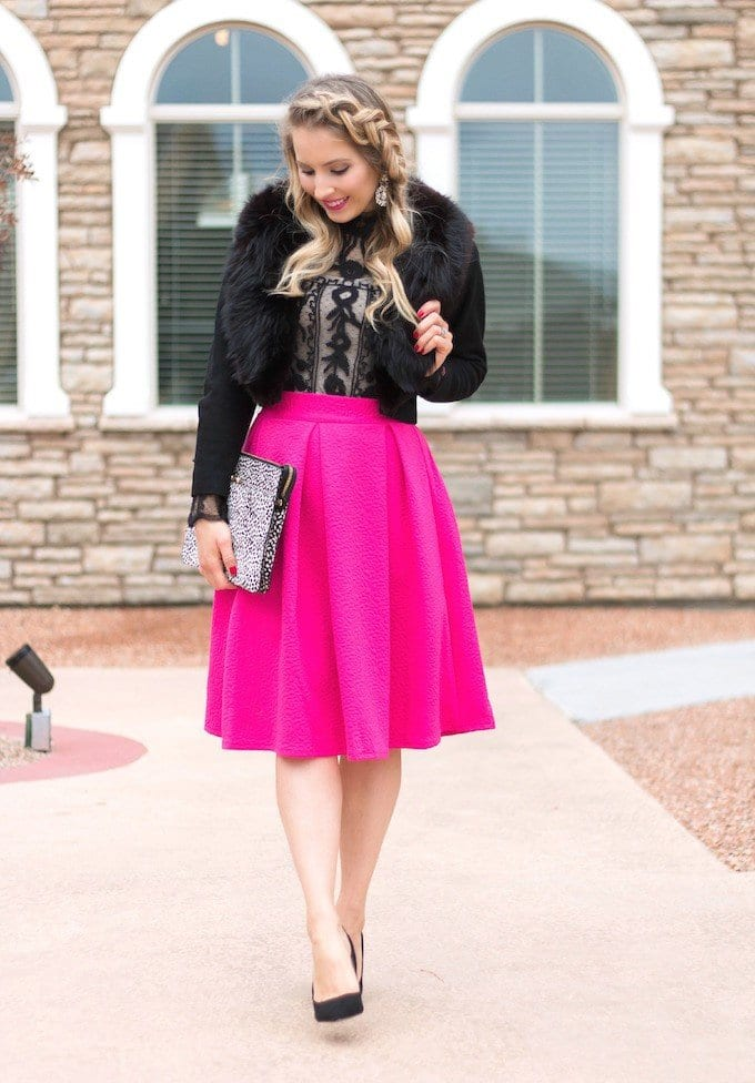 hot-pink-knee-length-skirt Outfits with Pink Skirts-30 Ideas How to Wear Hot Pink Skirts