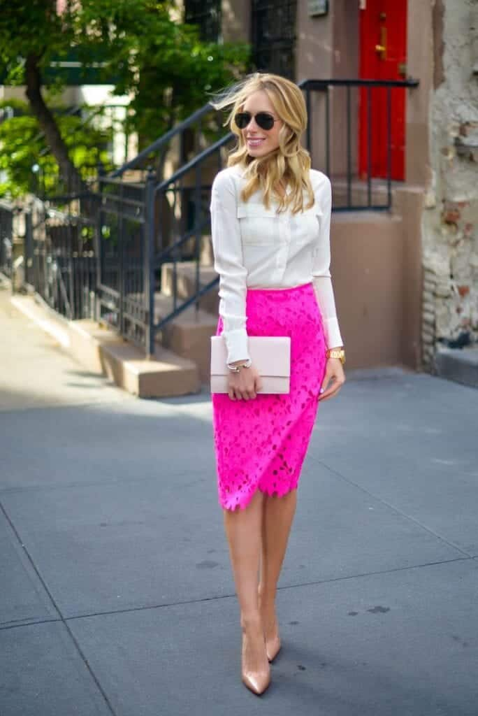 hot-pink-lace-skirt-684x1024 Outfits with Pink Skirts-30 Ideas How to Wear Hot Pink Skirts