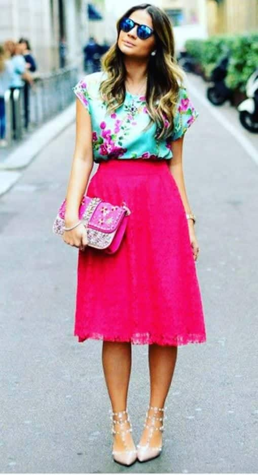 hot-pink-midi-skirt Outfits with Pink Skirts-30 Ideas How to Wear Hot Pink Skirts
