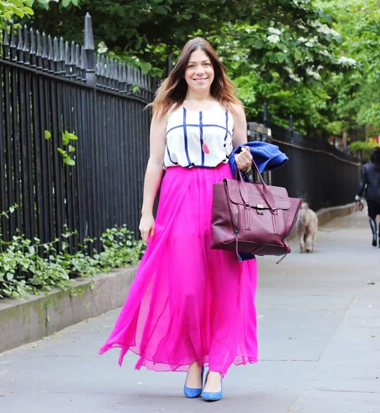 hot-pink-skirt-and-top.. Outfits with Pink Skirts-30 Ideas How to Wear Hot Pink Skirts