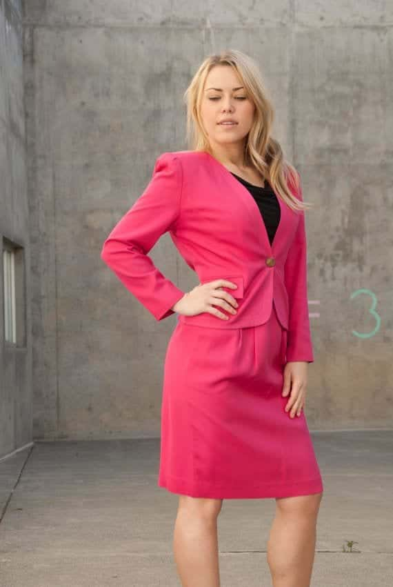 hot-pink-skirt-suit Outfits with Pink Skirts-30 Ideas How to Wear Hot Pink Skirts