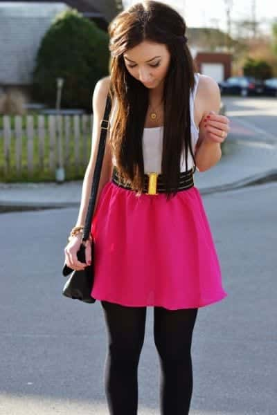 hot-pink-skirt-with-black-leggings Outfits with Pink Skirts-30 Ideas How to Wear Hot Pink Skirts