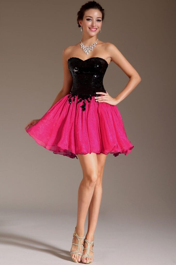 hot-pink-skirt-with-black-top-680x1024 Outfits with Pink Skirts-30 Ideas How to Wear Hot Pink Skirts