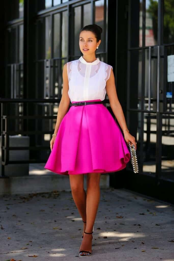 hot-pink-skirt-with-white-top-683x1024 Outfits with Pink Skirts-30 Ideas How to Wear Hot Pink Skirts