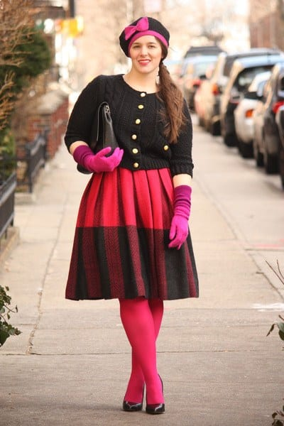 hot-pink-wool-skirt Outfits with Pink Skirts-30 Ideas How to Wear Hot Pink Skirts