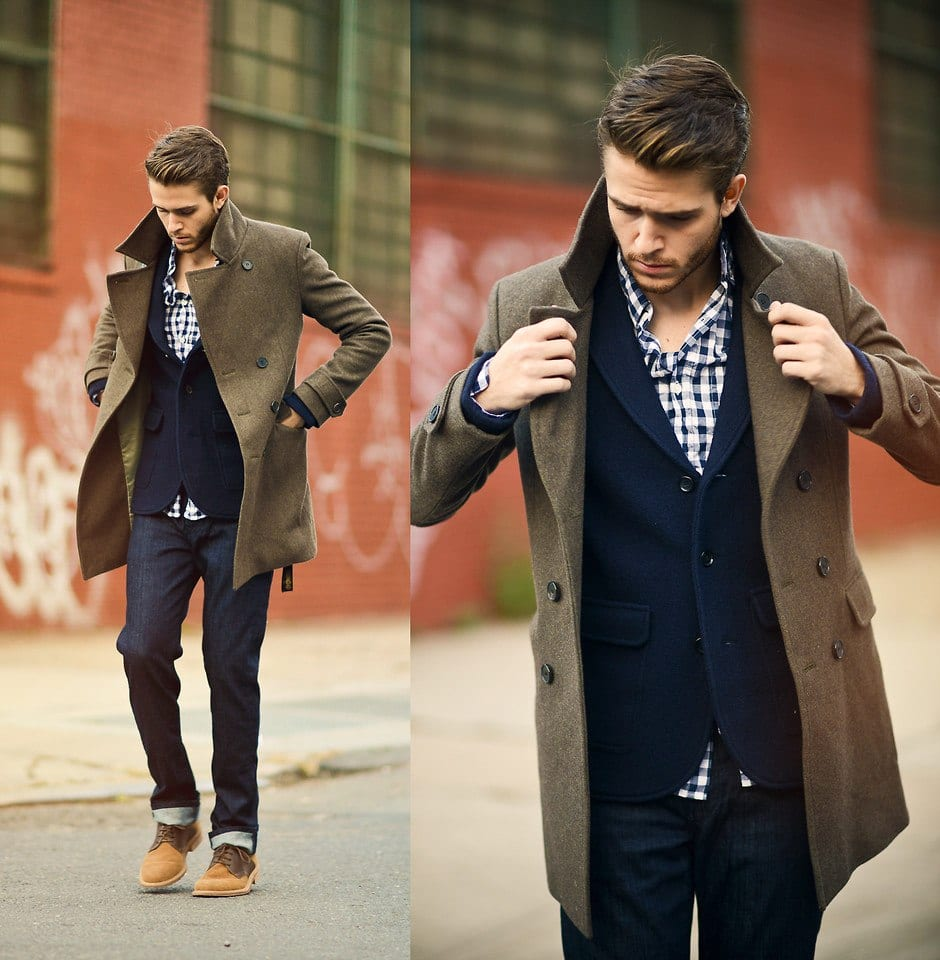 in-winters Men Outfits with Blue Jeans-27 Ways to Style Guys Blue Jeans