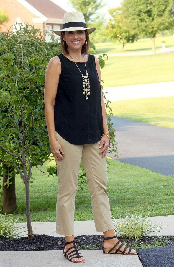 khakhi-pants-and-top 30 Best Summer Outfits for Women Above 50 - Style Tips