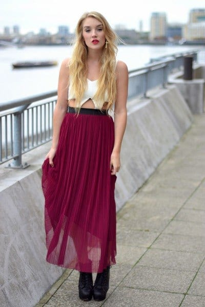 pleated-sheer-skirt Outfits with Sheer Skirts- 20 Ideas How to Wear Sheer Skirts