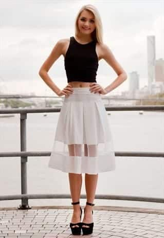 sheer-panel-skirt Outfits with Sheer Skirts- 20 Ideas How to Wear Sheer Skirts