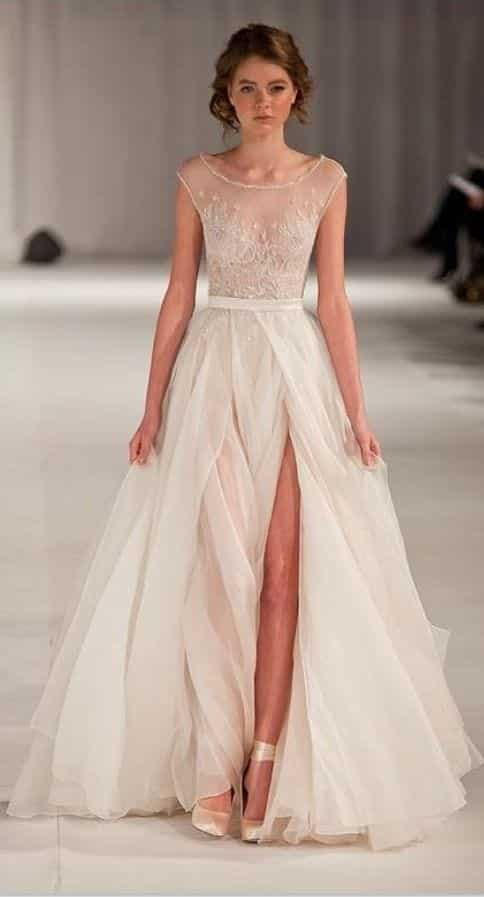 sheer-skirt-wedding-dress Outfits with Sheer Skirts- 20 Ideas How to Wear Sheer Skirts
