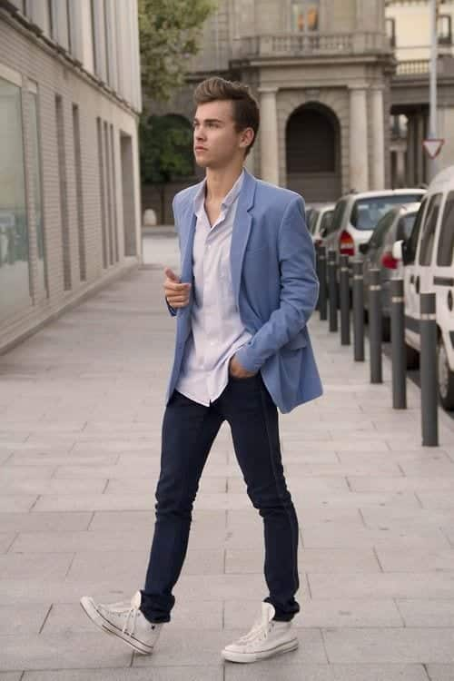 shoes Men Outfits with Blue Jeans-27 Ways to Style Guys Blue Jeans