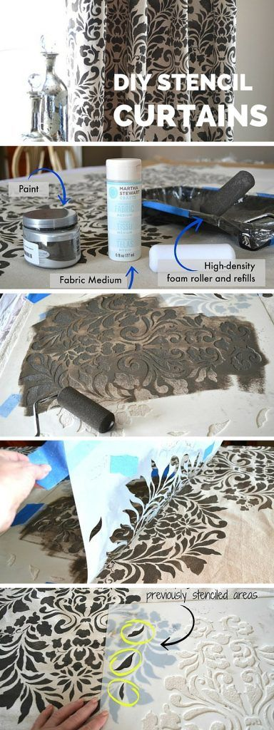 stencil-curtains-384x1024 Hacks for Home Decor- 25 Cheap DIY Home Decor Projects