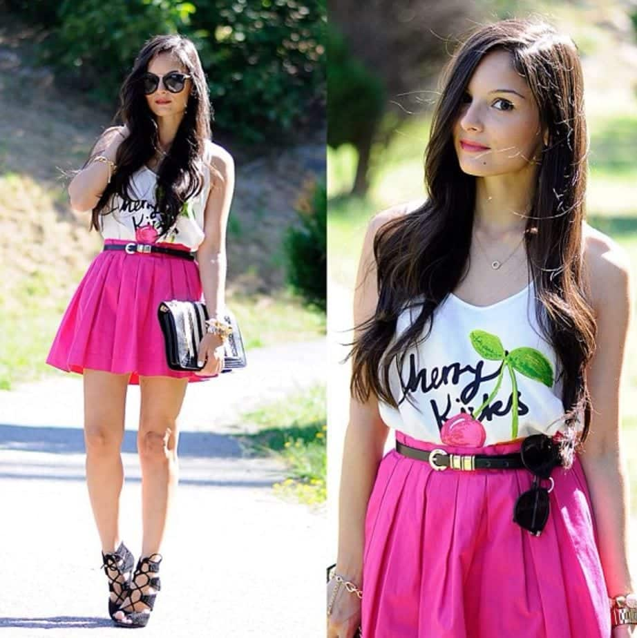 what-color-shirt-to-wear-with-hot-pink-skirt Outfits with Pink Skirts-30 Ideas How to Wear Hot Pink Skirts