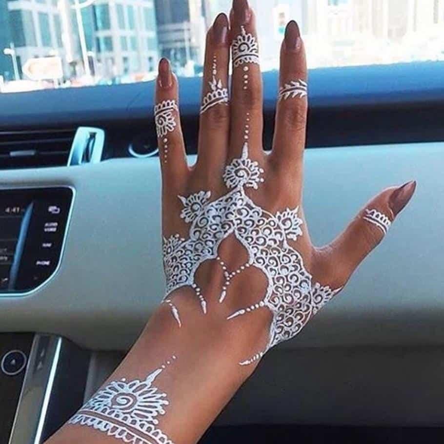 white-henna-tattoo Trending Mehndi Designs-50 Latest Henna Tattoo Ideas for 2018