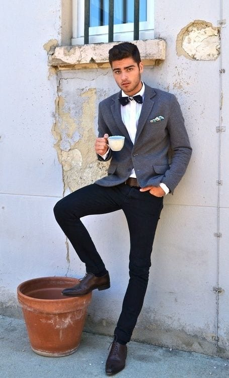 with-blazer Men Outfits with Blue Jeans-27 Ways to Style Guys Blue Jeans