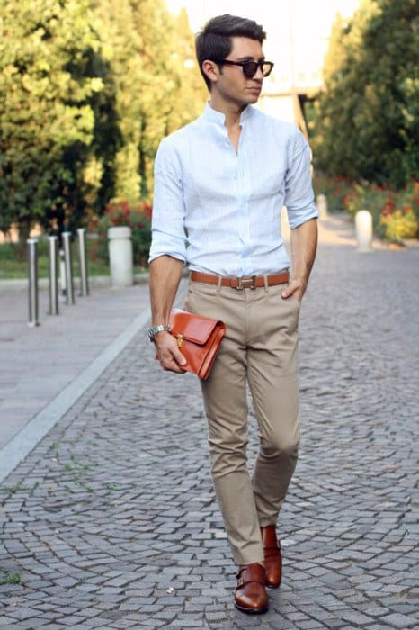 with-button-down-shirt-1 30 Best Men's Outfit Ideas to Wear with Monk Strap Shoes