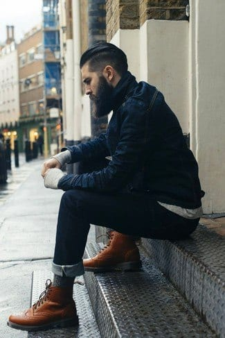 with-denim-jacket Men Outfits with Blue Jeans-27 Ways to Style Guys Blue Jeans