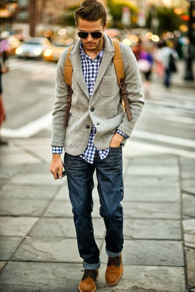 with-flannel-shirt-684x1024 Men Outfits with Blue Jeans-27 Ways to Style Guys Blue Jeans