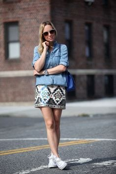 wrap-skirt-and-denim-shirt College Girls Dressing–18 Ideas & Tips to Dress Well in College