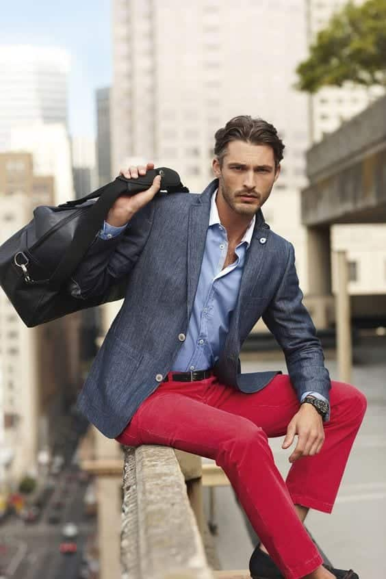 13-1 Men Outfits with Red Pants-30 Ways for Guys to Wear Red Pants