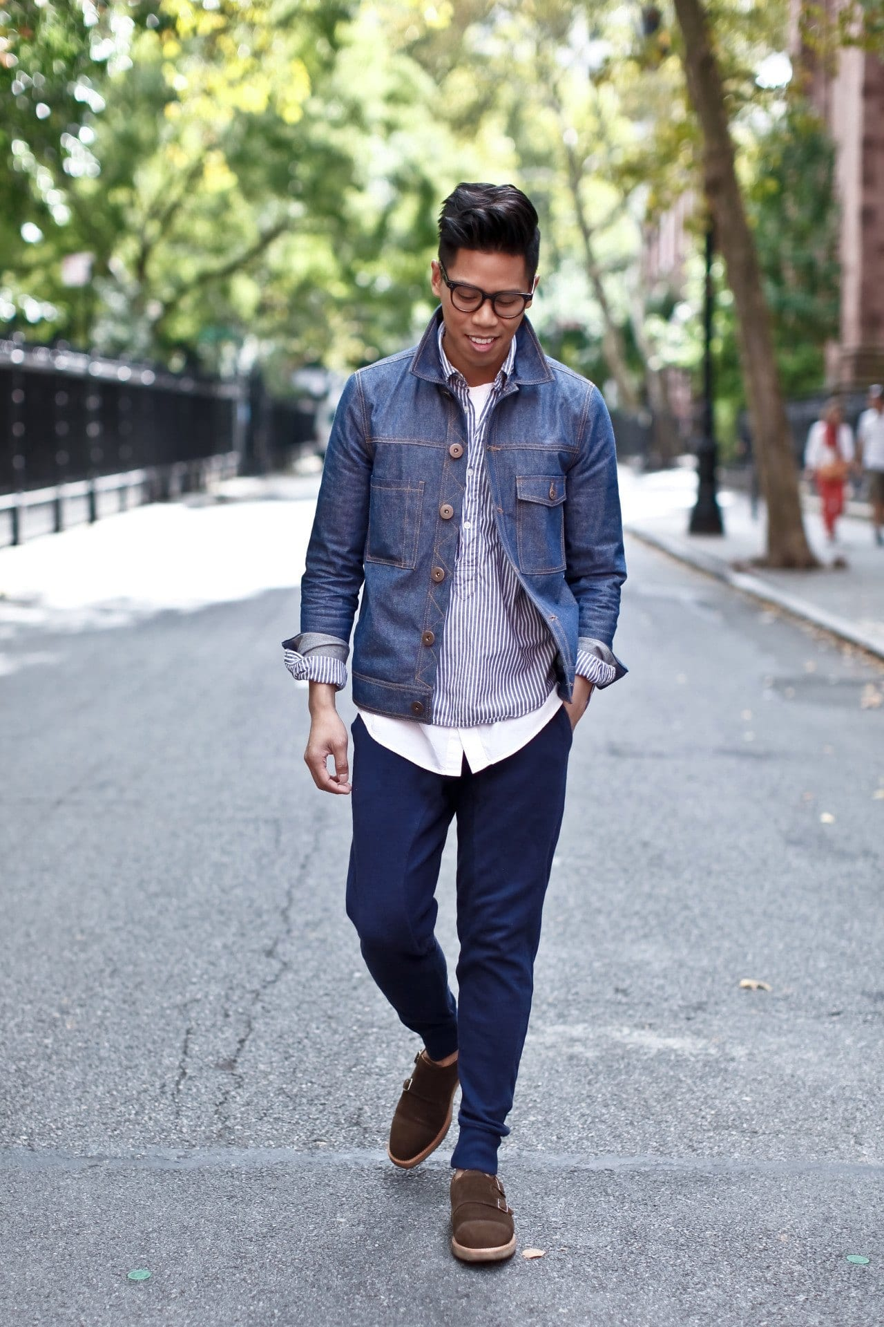 How to Wear Sweatpants with Denim