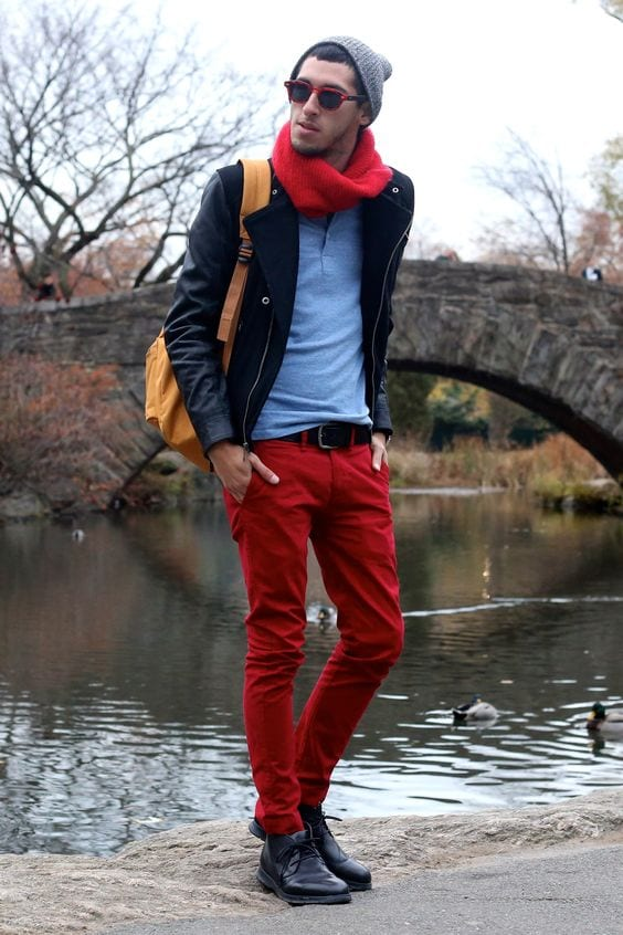27-2 Men Outfits with Red Pants-30 Ways for Guys to Wear Red Pants