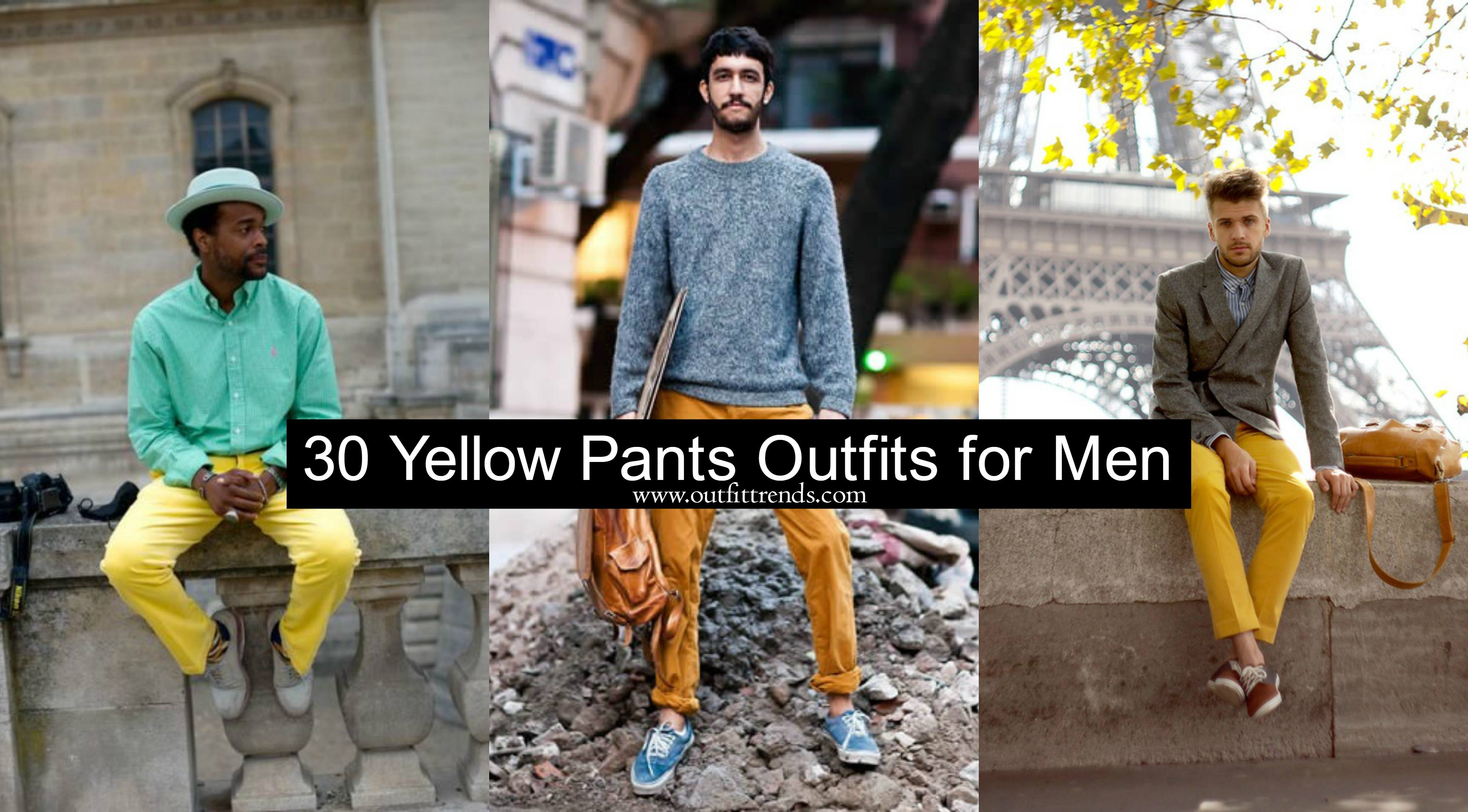 30-Yellow-Pants-Outfits-for-Men Men's Yellow Pants Outfits-35 Best Ways to Wear Yellow Pants