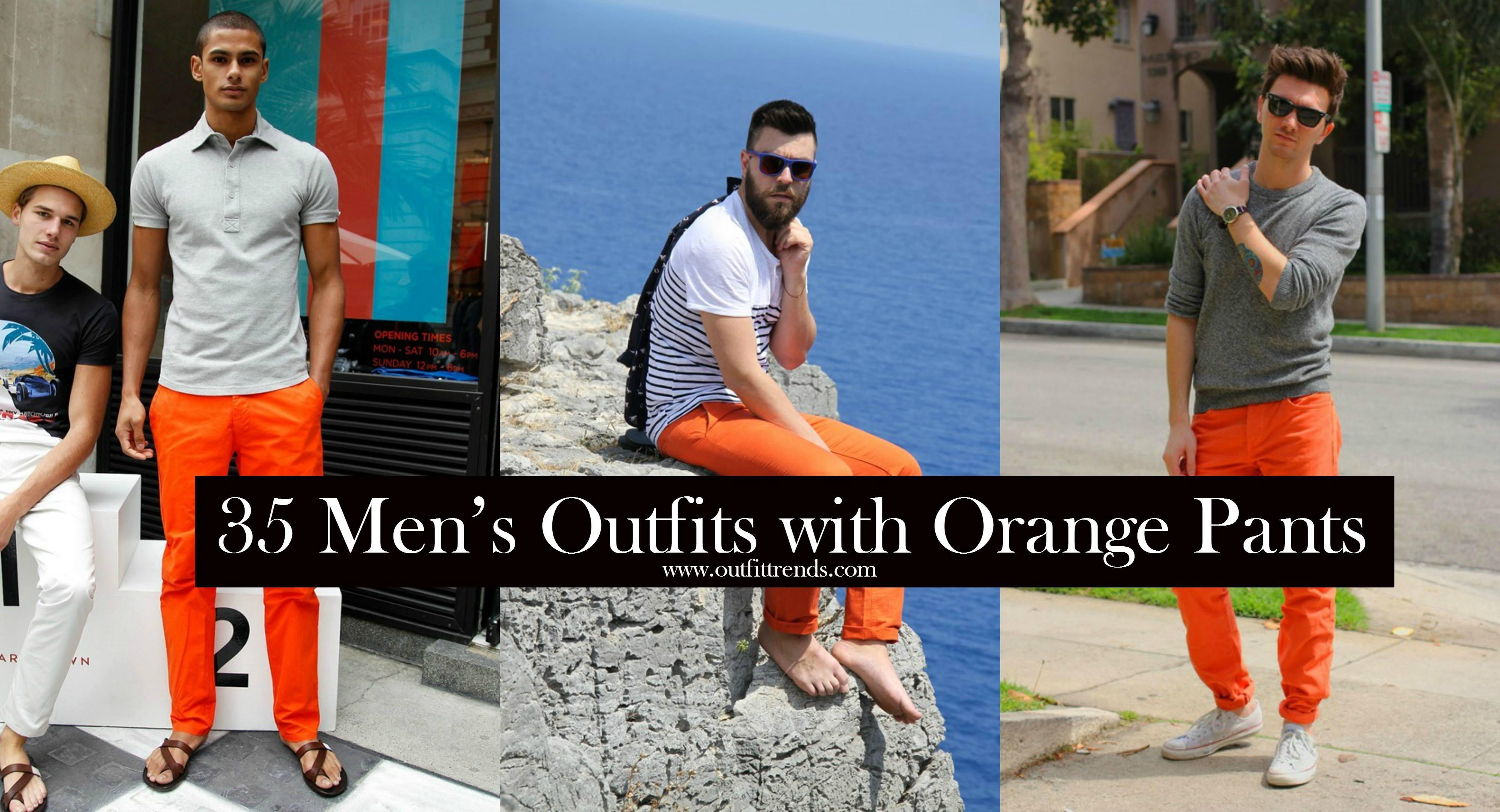 how to wear orange pants for men (1)