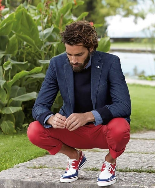 4-2 Men Outfits with Red Pants-30 Ways for Guys to Wear Red Pants