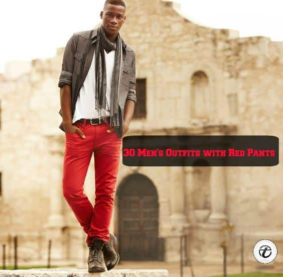 8-7 Men Outfits with Red Pants-30 Ways for Guys to Wear Red Pants