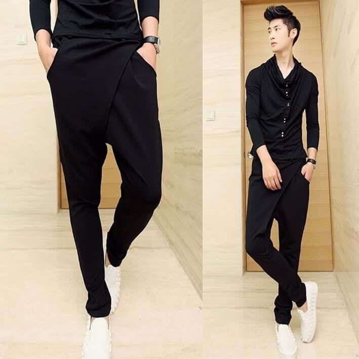 Black-Hareem-Pants-For-Men-For-A-Different-Look Black Pants Outfits For Men-29 Ideas How To Style Black Pants