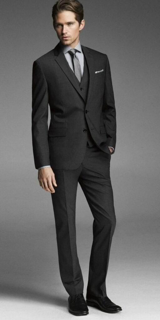Black-Pants-With-A-Formal-Three-Piece-Outfit-512x1024 Black Pants Outfits For Men-29 Ideas How To Style Black Pants