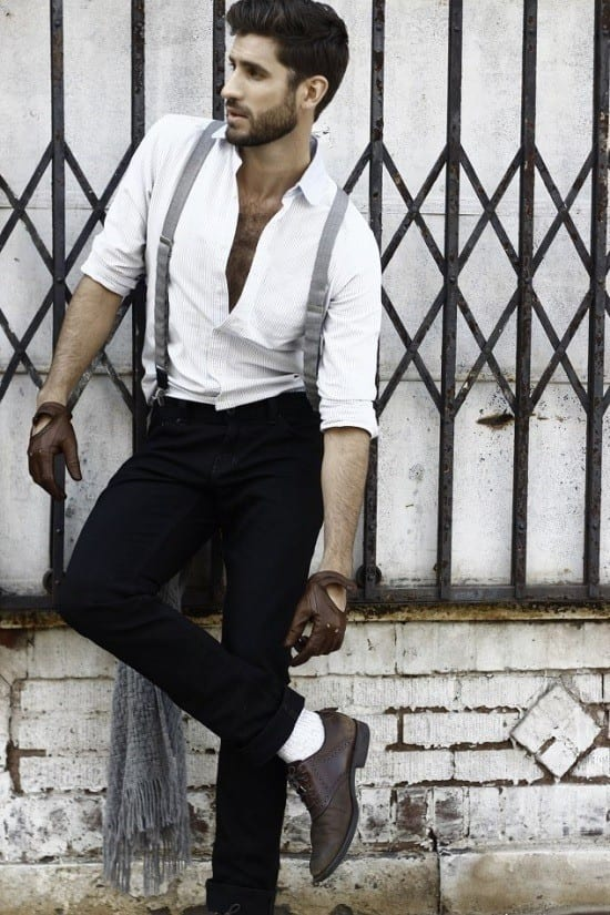 Black-Pants-With-Suspenders-Outfit Black Pants Outfits For Men-29 Ideas How To Style Black Pants