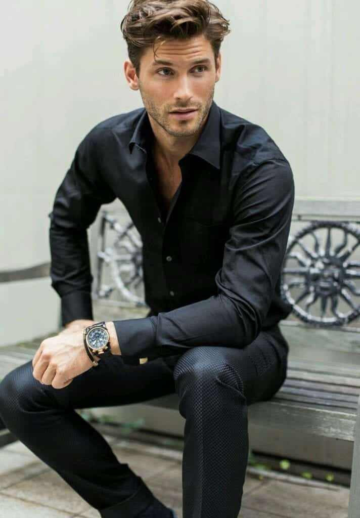 Formal-Black-Pants-With-Black-Shirt-712x1024 Black Pants Outfits For Men-29 Ideas How To Style Black Pants