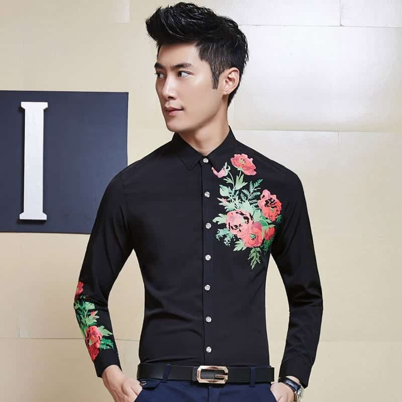 Men-s-Smart-Funky-Wildflower-Pattern-Dress-Shirts-Slim-Fit-Casual-Business-Shirt Funky Outfits For Guys – 16 Really Cool Outfits for Boys These Days