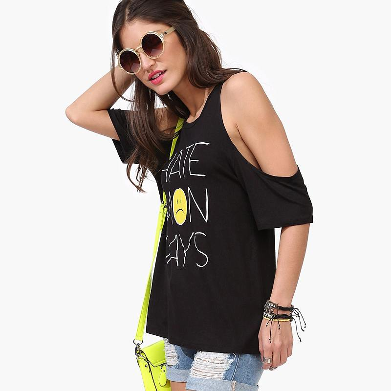 Oversized-t-shirts-womens-black-off-the-shoulder-shirts-funky-t-shirts-for-girls-plus-size 17 Super Funky Outfits for Women Worth Trying