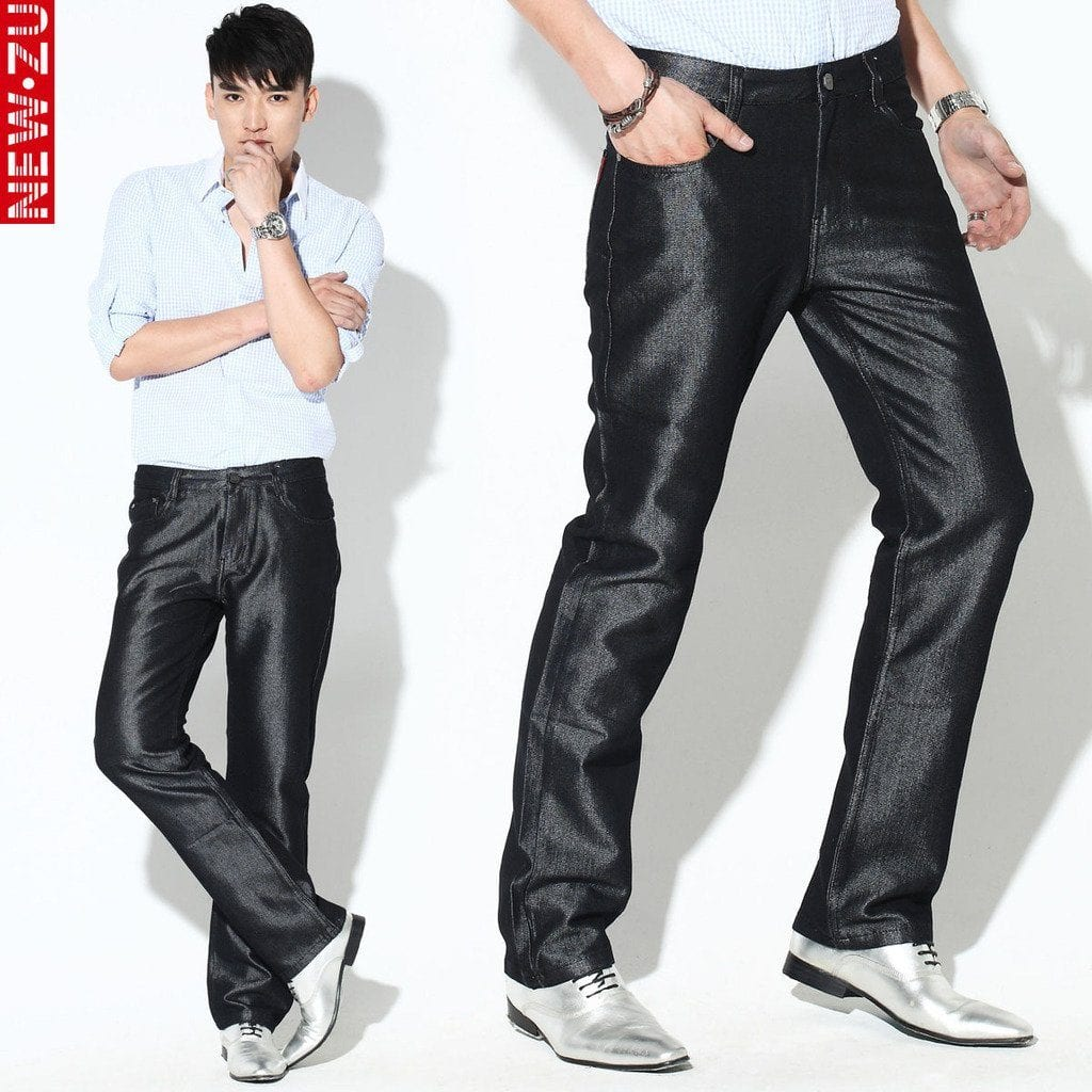 Shiny-Black-Pants-For-Night-Clubs-Or-Parties Black Pants Outfits For Men-29 Ideas How To Style Black Pants