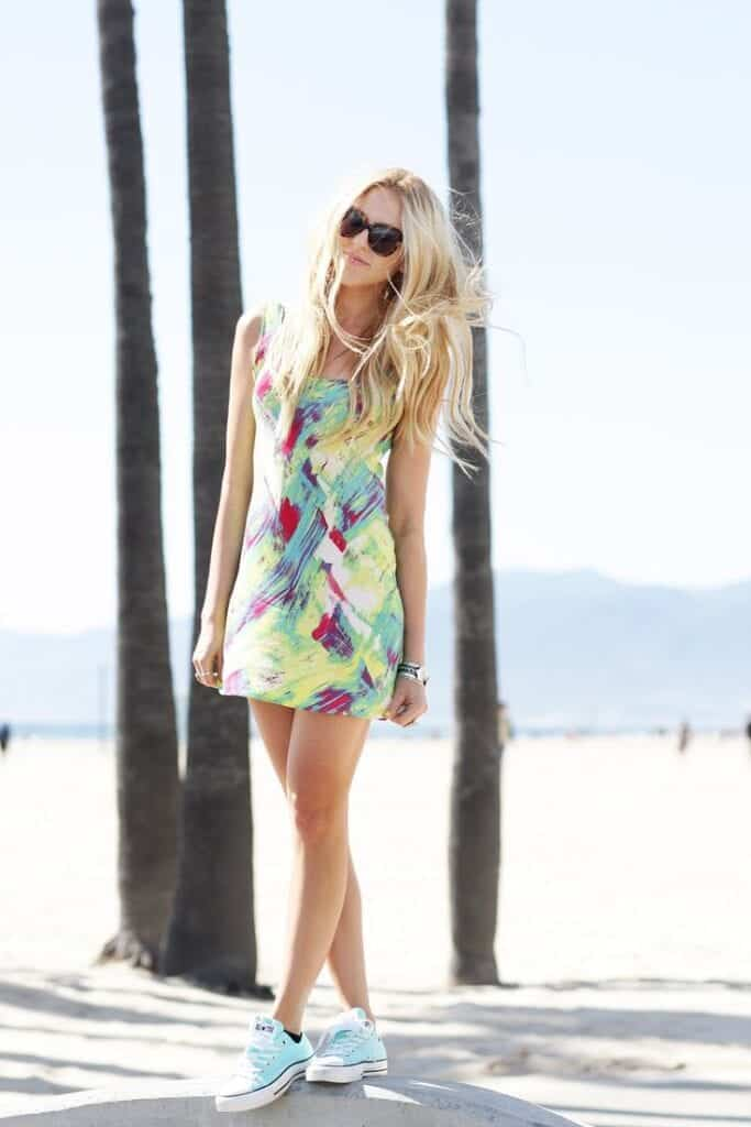 bright-dress-and-sneakers-683x1024 17 Super Funky Outfits for Women Worth Trying