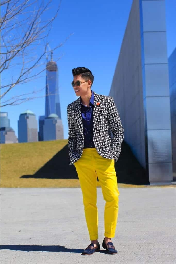 bruch-outfit-683x1024 Men's Yellow Pants Outfits-35 Best Ways to Wear Yellow Pants