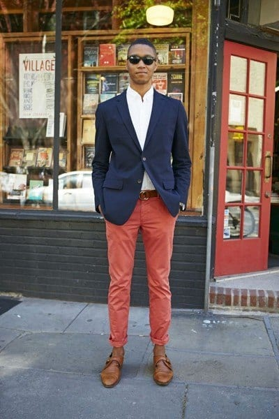 business-outfit Men's Orange Pants Outfits-35 Best Ways to Wear Orange Pants