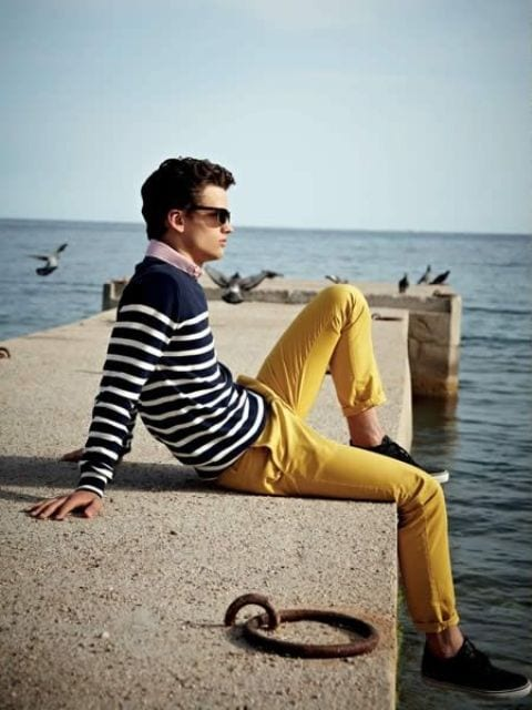 casual-outfit-2 Men's Yellow Pants Outfits-35 Best Ways to Wear Yellow Pants