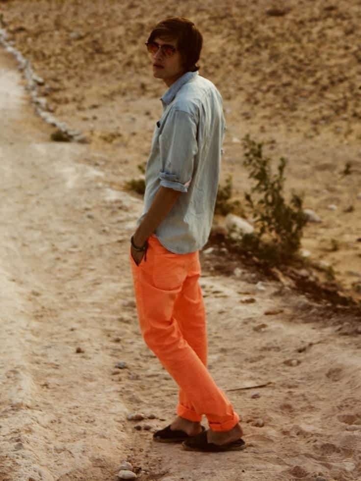 casual-outfit.. Men's Orange Pants Outfits-35 Best Ways to Wear Orange Pants
