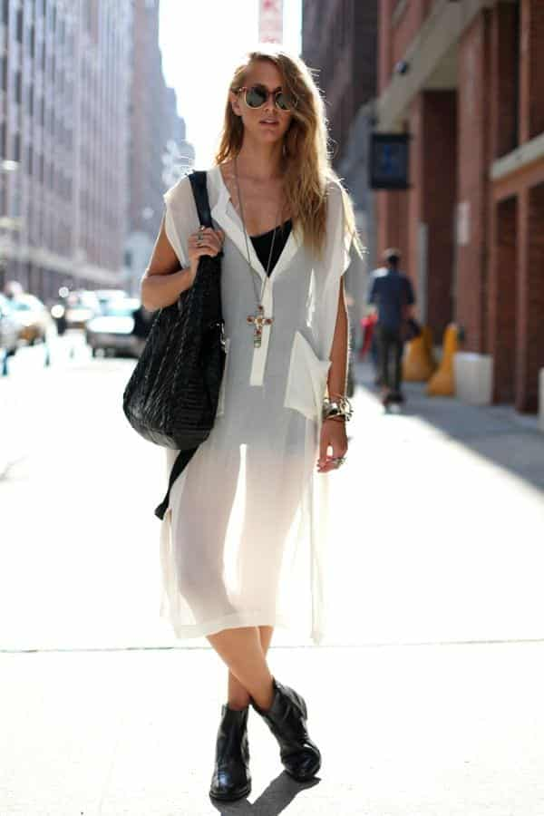 casual-sheer-dress See-Through Outfits Girls-30 Ideas on How to Wear Sheer Outfits