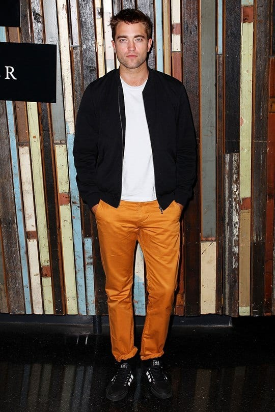 celebrity-outfit-1 Men's Orange Pants Outfits-35 Best Ways to Wear Orange Pants