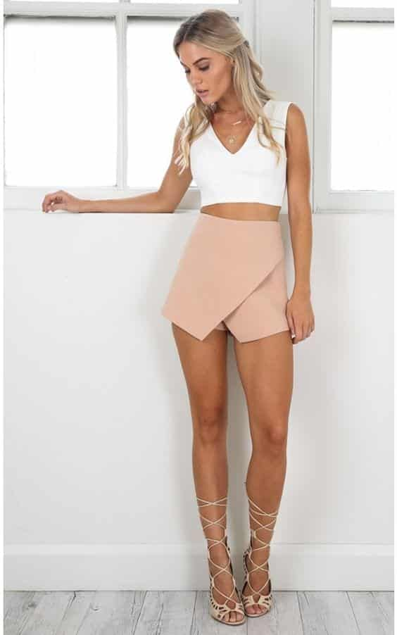 crossfire-skort-in-nude Girls Casual Club Attire-30 Best Casual Outfits for Clubbing