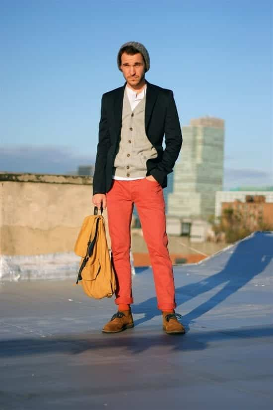 party-outfit Men's Orange Pants Outfits-35 Best Ways to Wear Orange Pants