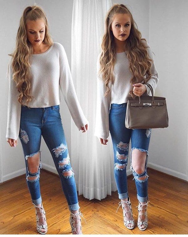 ripped-jeans Girls Casual Club Attire-30 Best Casual Outfits for Clubbing
