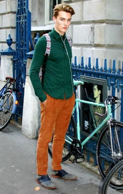 school-outfit Men's Orange Pants Outfits-35 Best Ways to Wear Orange Pants