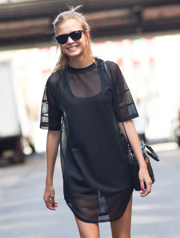 sheer-black-dress See-Through Outfits Girls-30 Ideas on How to Wear Sheer Outfits